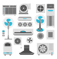 air conditioner and ventilator units set in white vector image