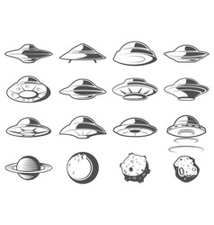 Alien spaceship spacecrafts and ufo set cosmic vector
