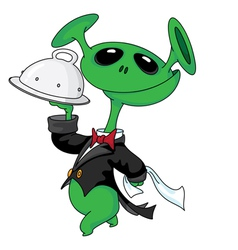 alien with a tray vector image