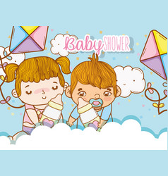 Babies girl and boy in the clouds with kites vector