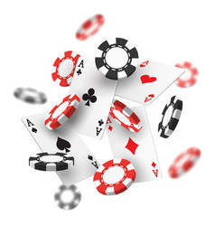 banner for casino with realistic red black chips vector image