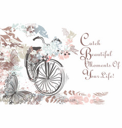 beautiful hand drawn bicycle with butterflies vector image