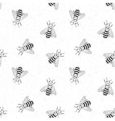 Bee hand drawn seamless pattern monochrome vector