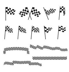 Black and white checkered auto racing flags and vector