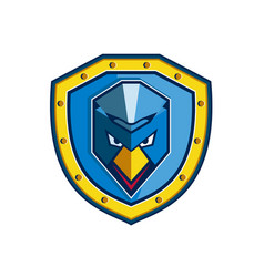 Blue chicken mohawk shield icon vector