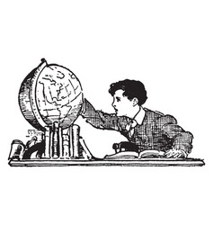 Boy looking at globe or world vintage engraving vector