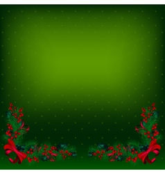 Bright green christmas background decorated by fir vector