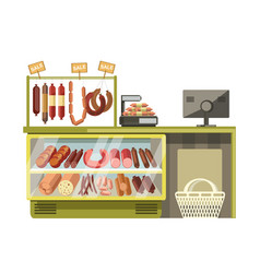 Butchery met sausages shop counter of supermarket vector