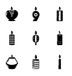 Candlelight icons set simple style vector