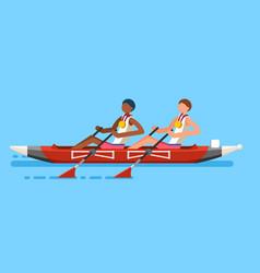 canoeing double canoe rowing vector image
