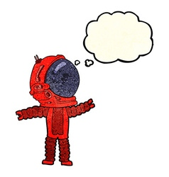 Cartoon astronaut with thought bubble vector