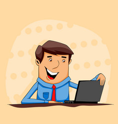 Cartoon guy with tablet and notebook vector