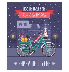 Christmas Bike Greetings Card vector image