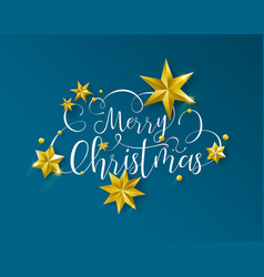 christmas calligraphy text quote with gold stars vector image