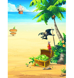 coast with a chest parrot vector image