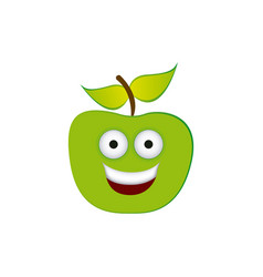Color green kawaii fruit apple happy icon vector