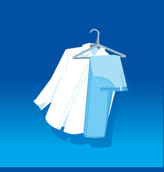 concept white pants and blue shirt on hangers vector image
