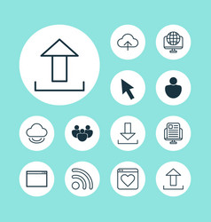 Connection icons set collection of followed vector