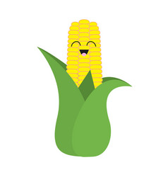 Corn cob ear with leaves icon yellow color vector