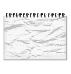 crumpled piece of paper notebook with shadow vector image