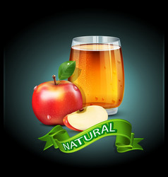 Cup glass of apple juice with apple slices vector