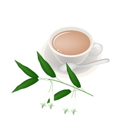 Cup of Tea with Solomons Seal Flowers vector image