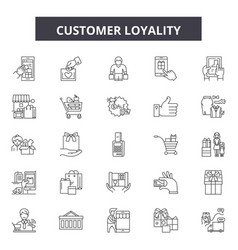 customer loyality line icons signs set vector image