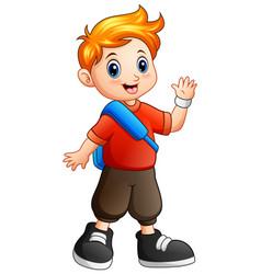 cute boy cartoon waving hand vector image