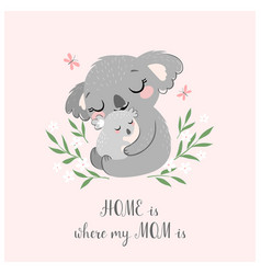 Cute koala mom and baby vector