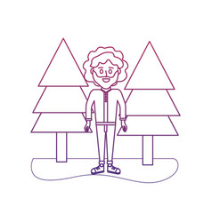 Degraded outline man curly hair and pine trees vector