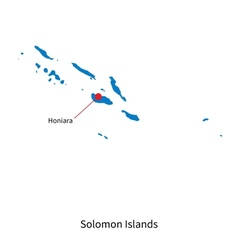 Detailed map of Solomon Islands and capital city vector image