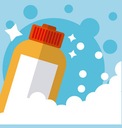 Detergent in bottle cleaning product vector