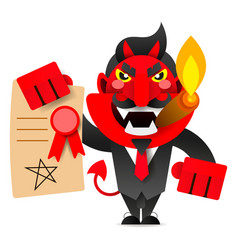devil showing the contract for your signature vector image