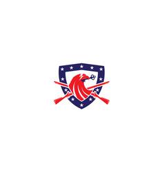 Eagle head with shield and gun star logo design vector