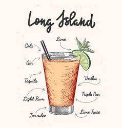 Engraved style long island alcoholic cocktail vector