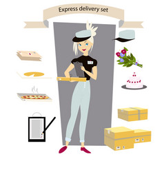 express delivery set young girl courier with a vector image