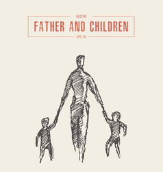 Father children hold hands drawn sketch vector