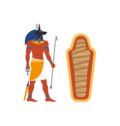 Flat anubis god and empty sarcophagus icon vector