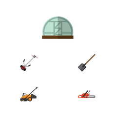 Flat icon farm set of hothouse shovel grass vector