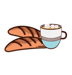 Fresh bread with cup of coffee icon vector