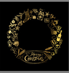 golden christmas wreath holiday elements vector image