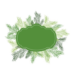 green christmas frame vector image