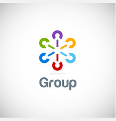 group connection colorful logo vector image