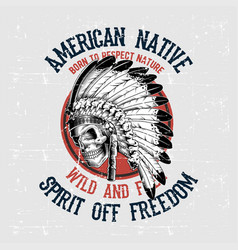 grunge style skull american native hand drawing vector image