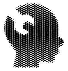Halftone dot brain wrench tool icon vector