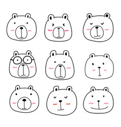 Hand drawn cute bear characters set vector