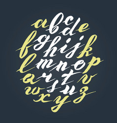 Hand written lettering alphabet brushed vector