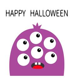 happy halloween monster head violet silhouette vector image