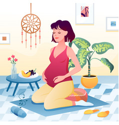Happy pregnancy activity at home young pregnant vector