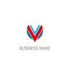 initial v shield company logo vector image